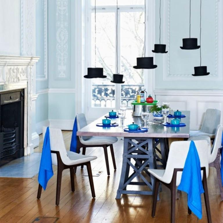 15 radiant blue dining room design ideas rilane for Light blue dining room ideas