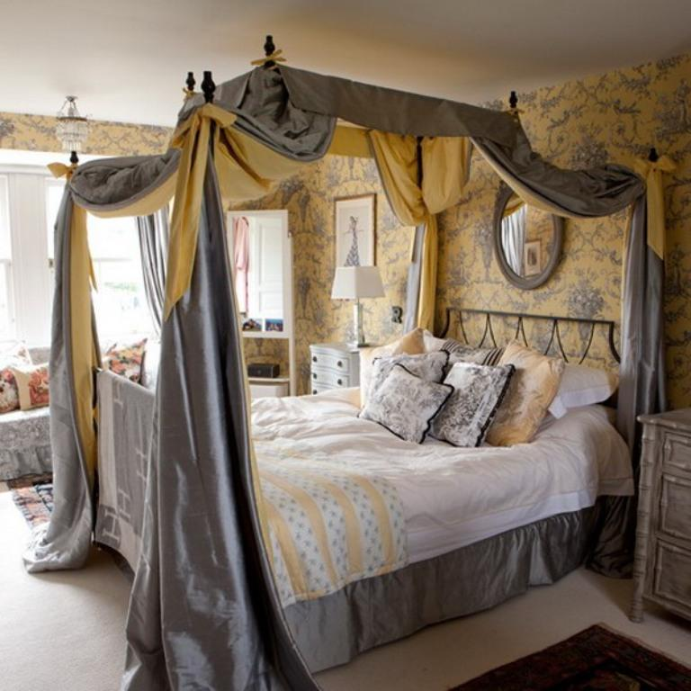 Elegant Grey Canopy Bed Curtain. Image Source: Design kastle : designer-canopy-beds - designwebi.com