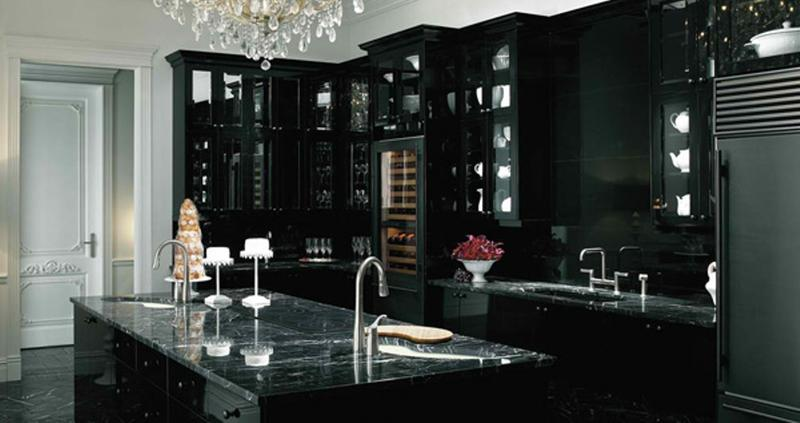 Elegant Kitchen With Black Cabinets