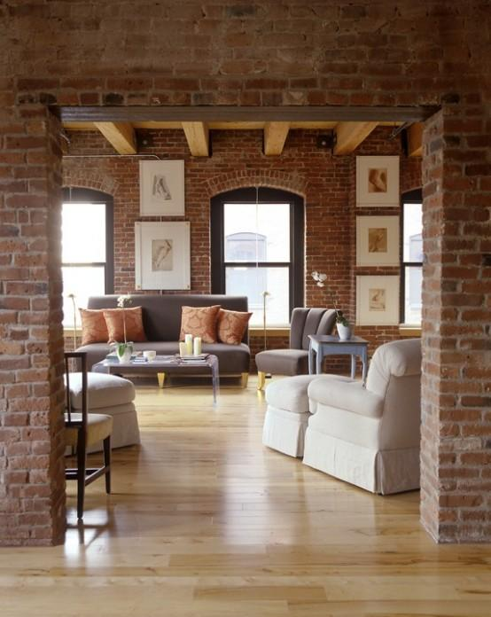20 exposed brick walls in modern living rooms rilane for Living room ideas exposed brick