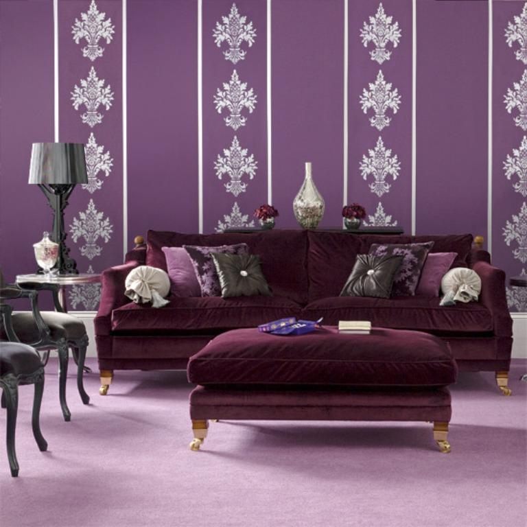 20 dazzling purple living room designs rilane for Purple living room designs