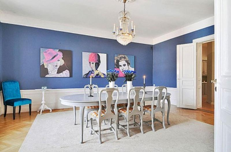 Fancy Blue Dining Room