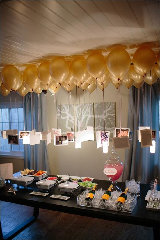 Beautiful Engagement Decoration Ideas At Home Part - 5: Floating Balloons With Couple Pictures
