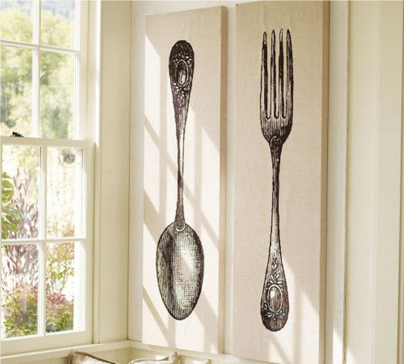 10 fun spoon and fork wall decor for creative kitchen rilane. Black Bedroom Furniture Sets. Home Design Ideas