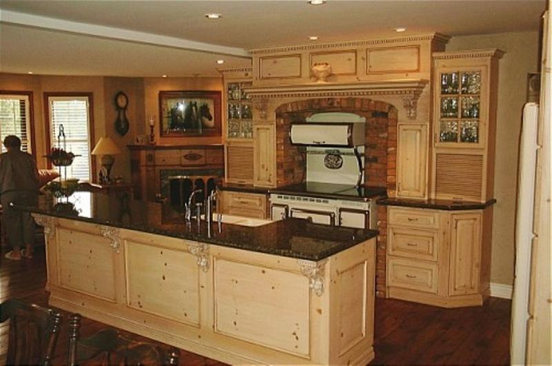 Formal Kitchen With Light Unfinished Pine Cabinets. Image Source: Home Depot