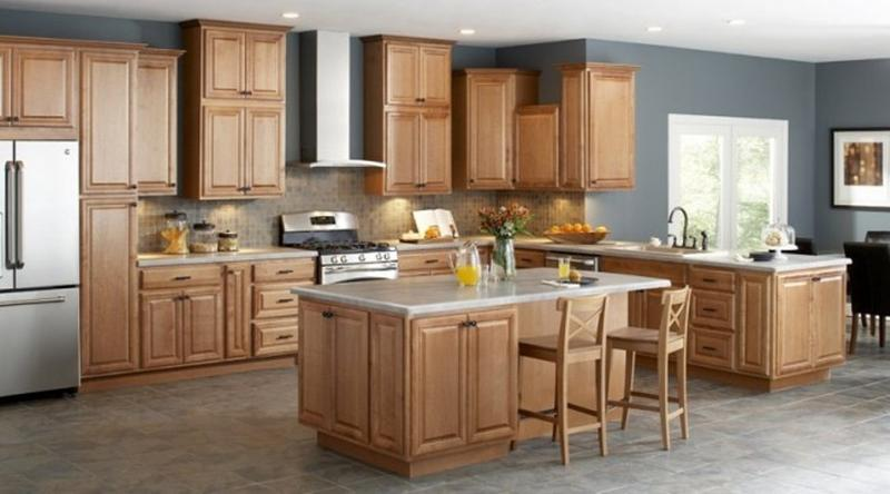 Unfinished oak kitchen cabinet designs rilane for Kitchen design ideas with oak cabinets