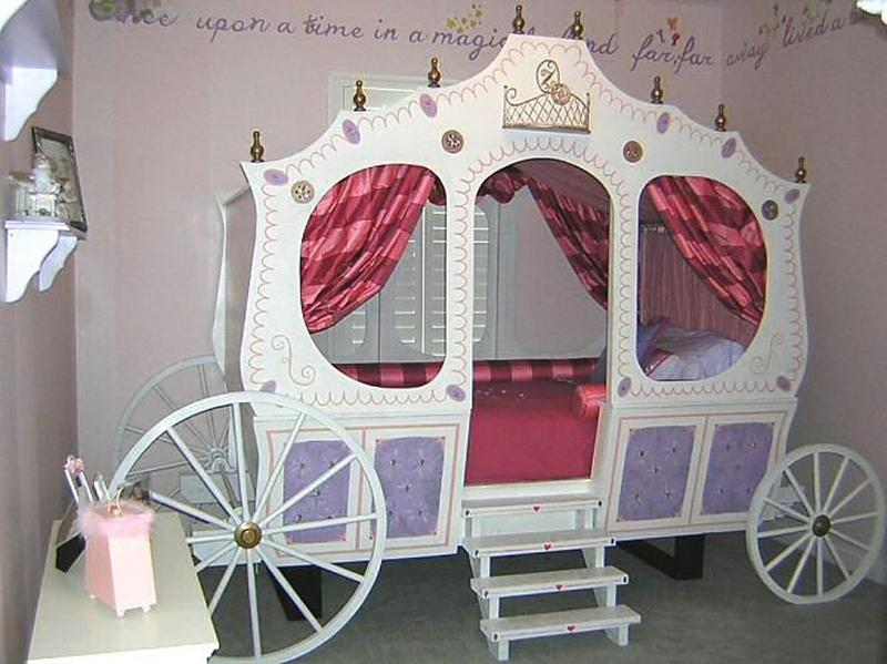 Dreamy cinderella carriage bed designs for girls rilane for How to build a carriage