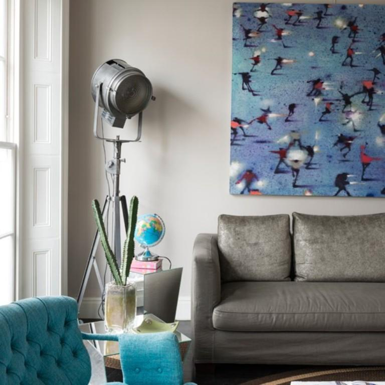 Grey And Turquoise Living Room With Statement Artwork Part 64