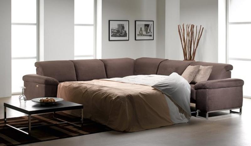 Grey Brown Sectional Sleeper Sofa