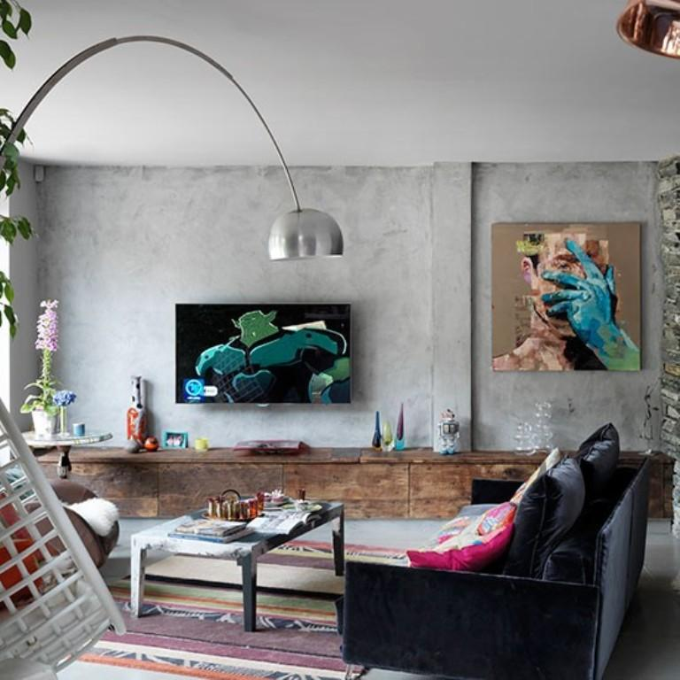 Industrial Living Room With Modern Artwork