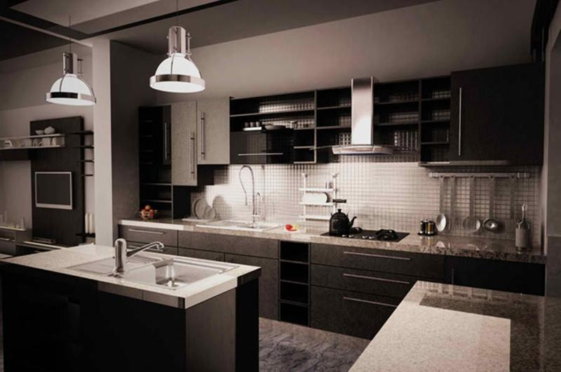15 contemporary kitchen with black cabinets rilane Black cabinet kitchens pictures