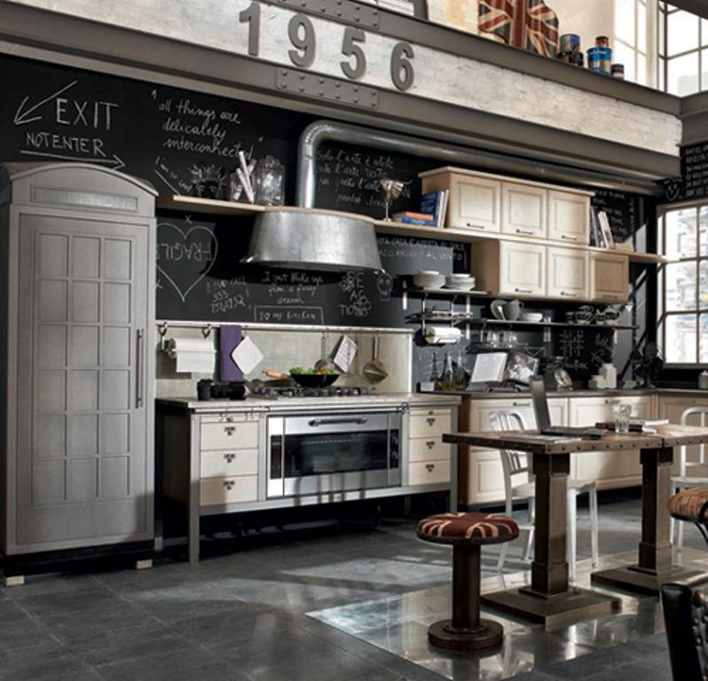 industrial kitchen with chalkboard
