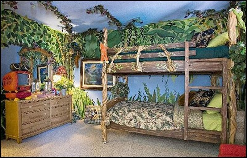 Great Jungle Themed Shared Bedroom