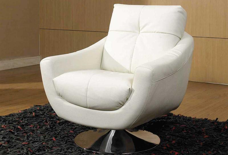 High Quality Leather White Swivel Chair