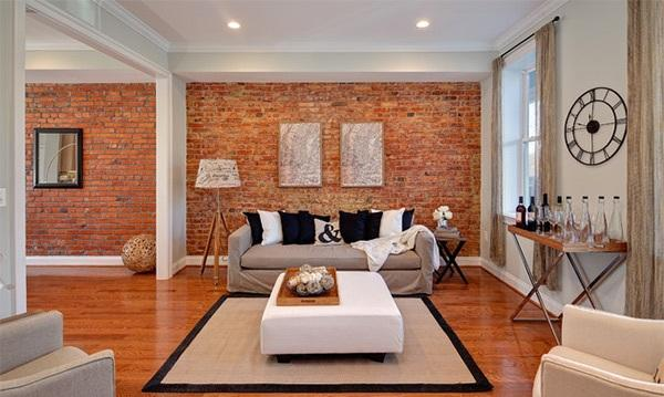 Light Living Room With Exposed Brick Walls