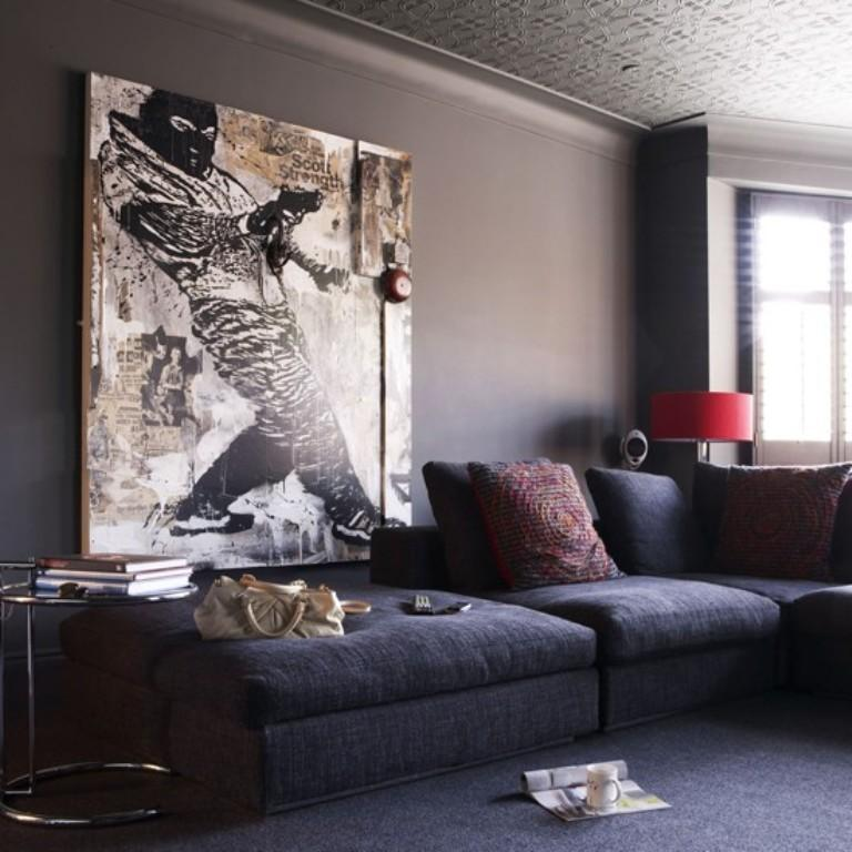Delightful Living Room With Oversized Cool Artwork