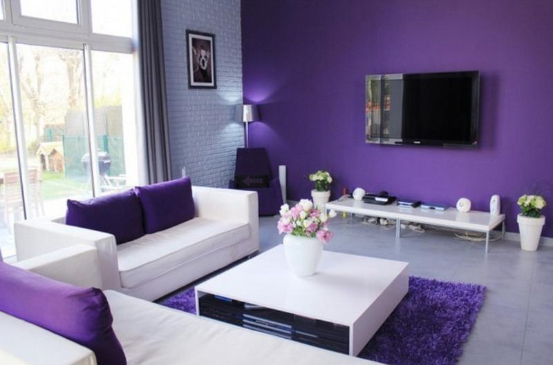 Lovely Minimalist Purple Living Room