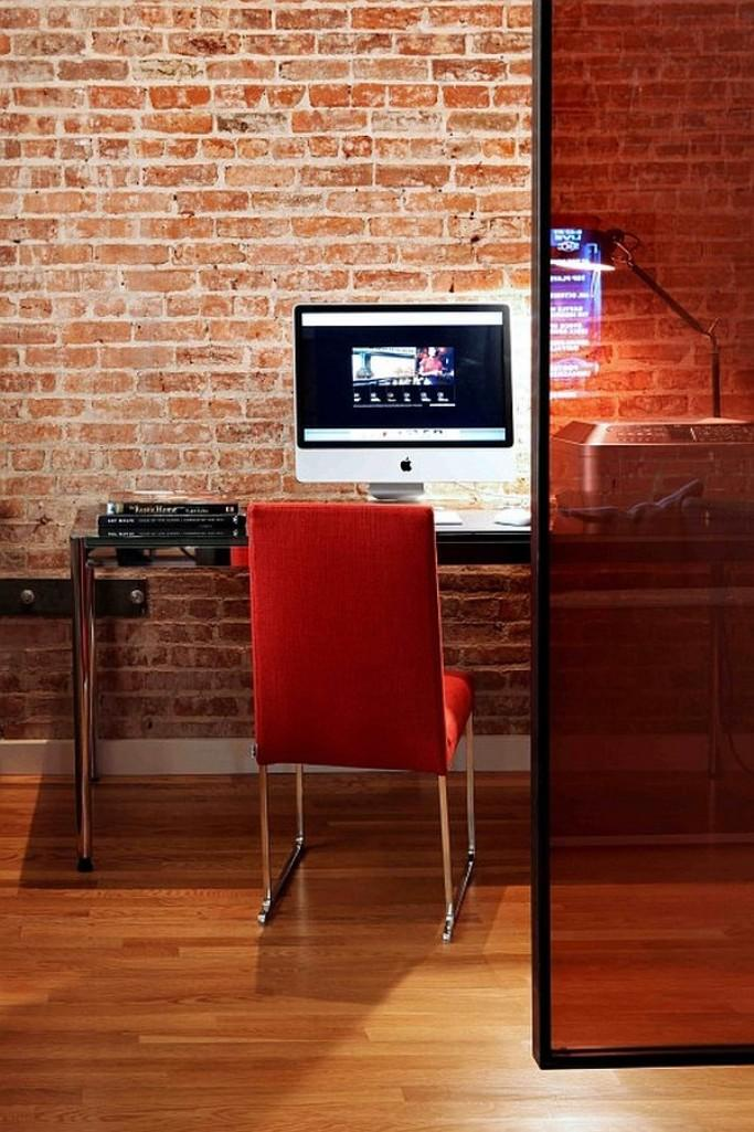 15 cool home office design with exposed brick walls rilane for Cool brick wall designs
