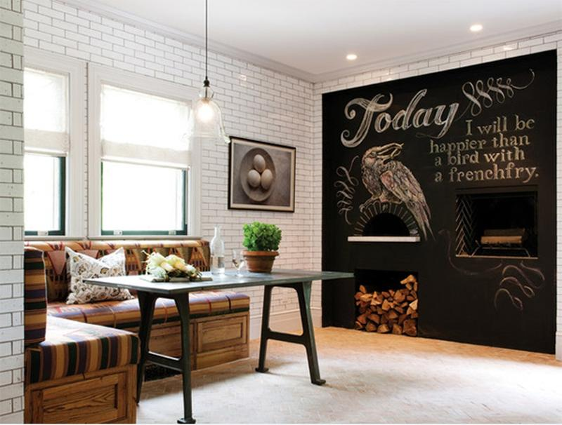Modern Industrial Dining Room With Chalkboard Wall