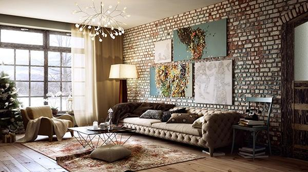 Modern Living Room With Rustic Brick Walls