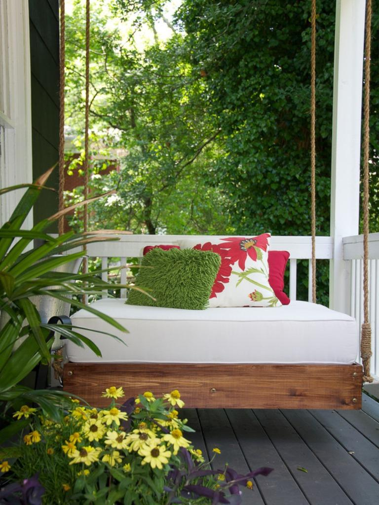 Modern Small Porch With A Swing