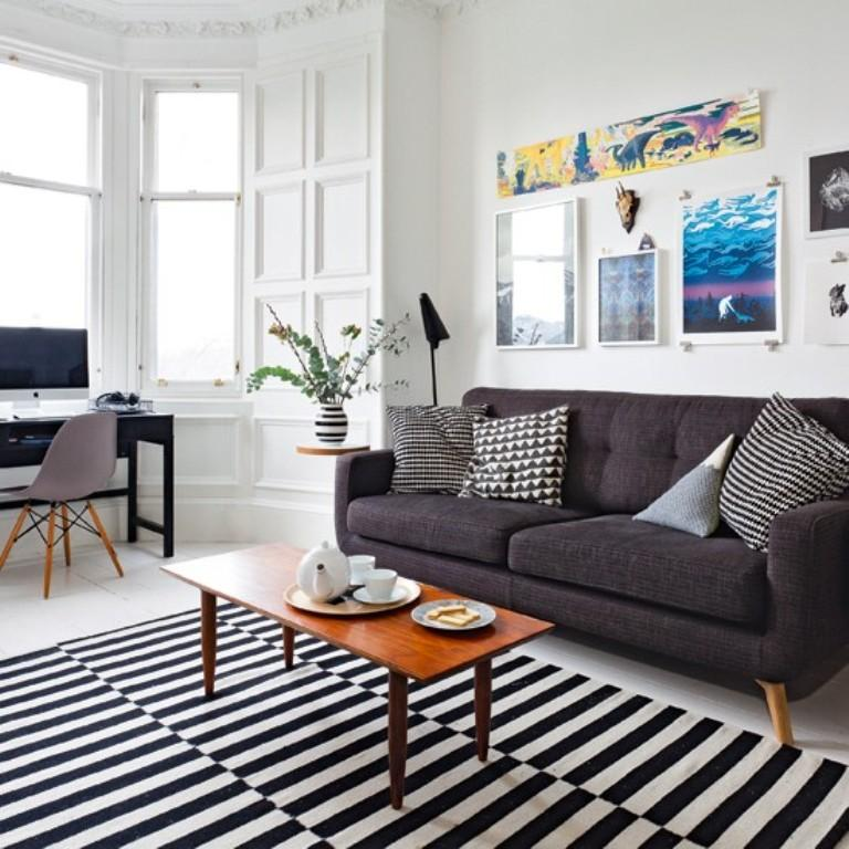 Monochromatic Living Room with Statement Artwork