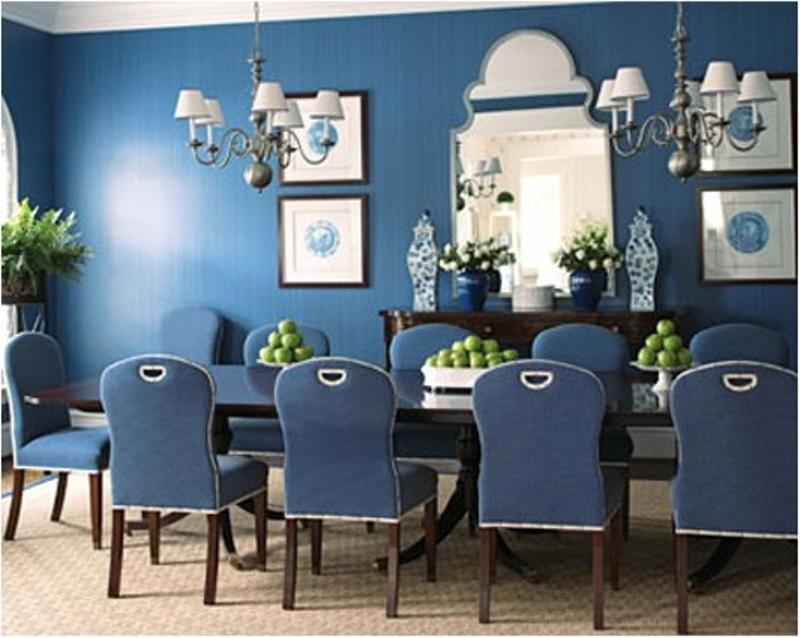 Monochrome Navy Blue Dining Room