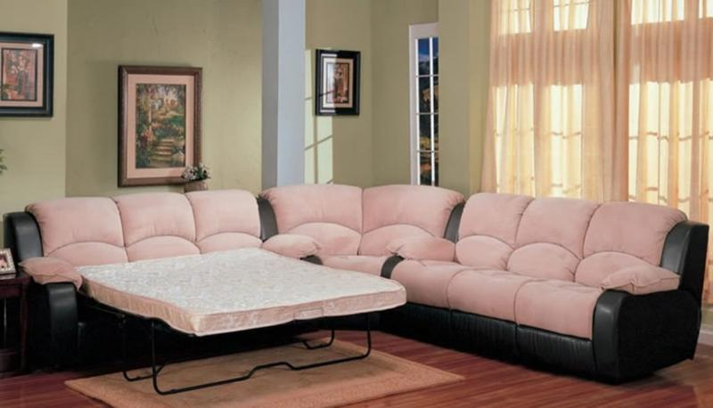 Pink And Black Sectional Sleeper Sofa