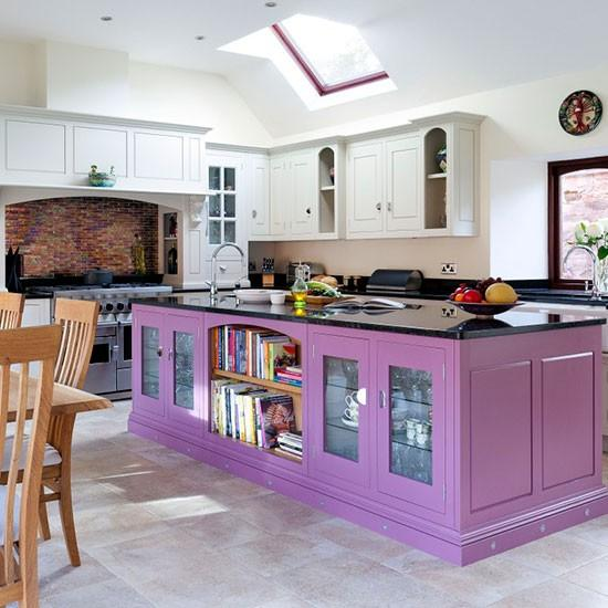 15 vibrant and colorful kitchen design ideas rilane for Purple paint in kitchen