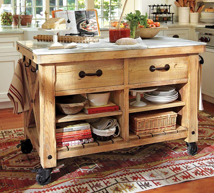 Reclaimed Wooden Kitchen Island on Wheels15 Reclaimed Wood Kitchen Island Ideas   Rilane. Rustic Kitchen Island. Home Design Ideas