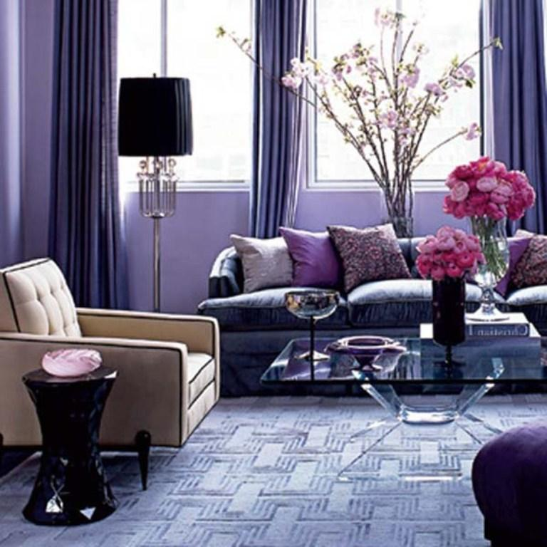 20 dazzling purple living room designs rilane. Black Bedroom Furniture Sets. Home Design Ideas