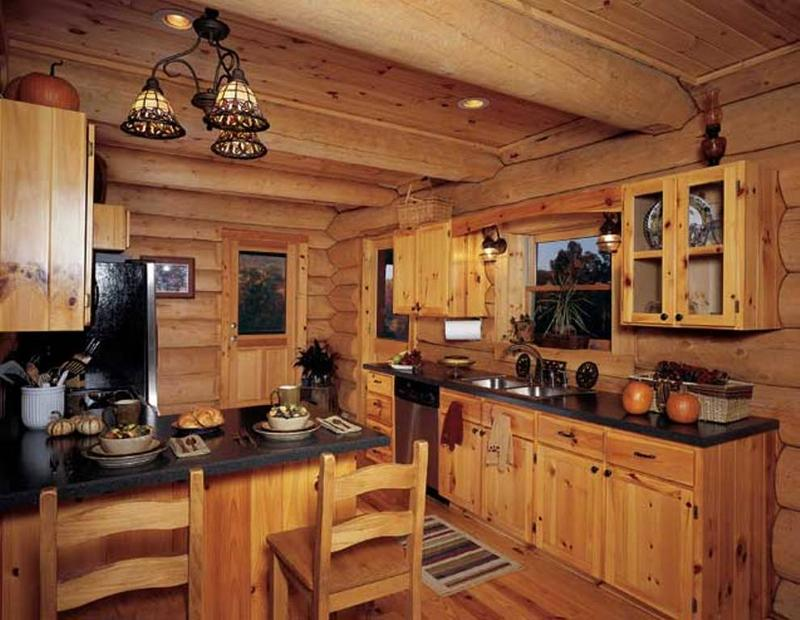 10 rustic kitchen designs with unfinished pine kitchen for Log home kitchen designs