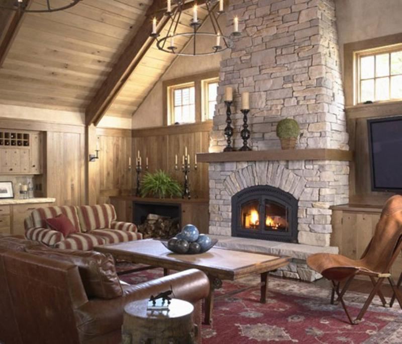 Stunning living rooms with stacked stone fireplace rilane - Images of stone fireplaces ...