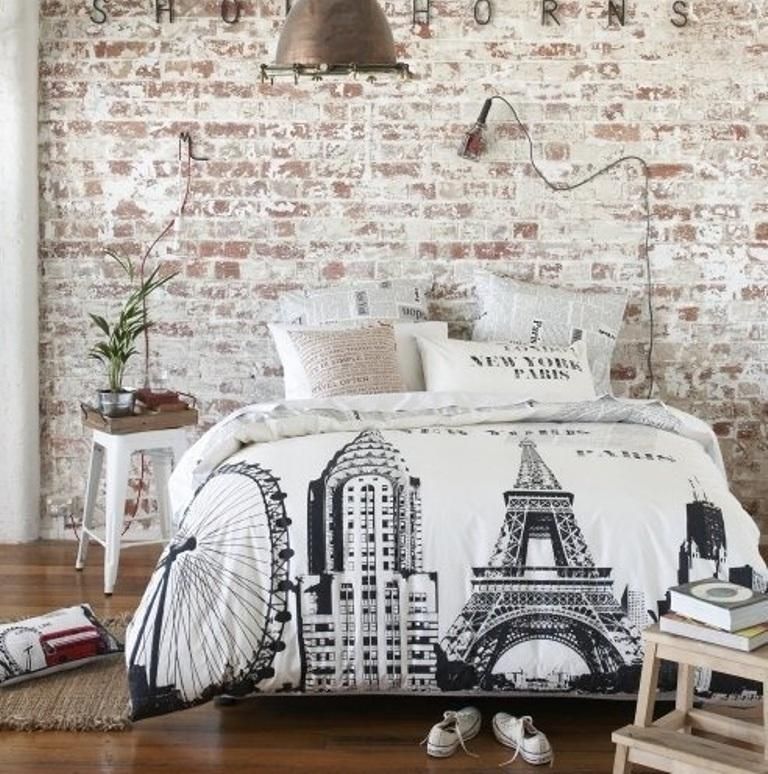 Shabby Chic Bedroom with brick walls