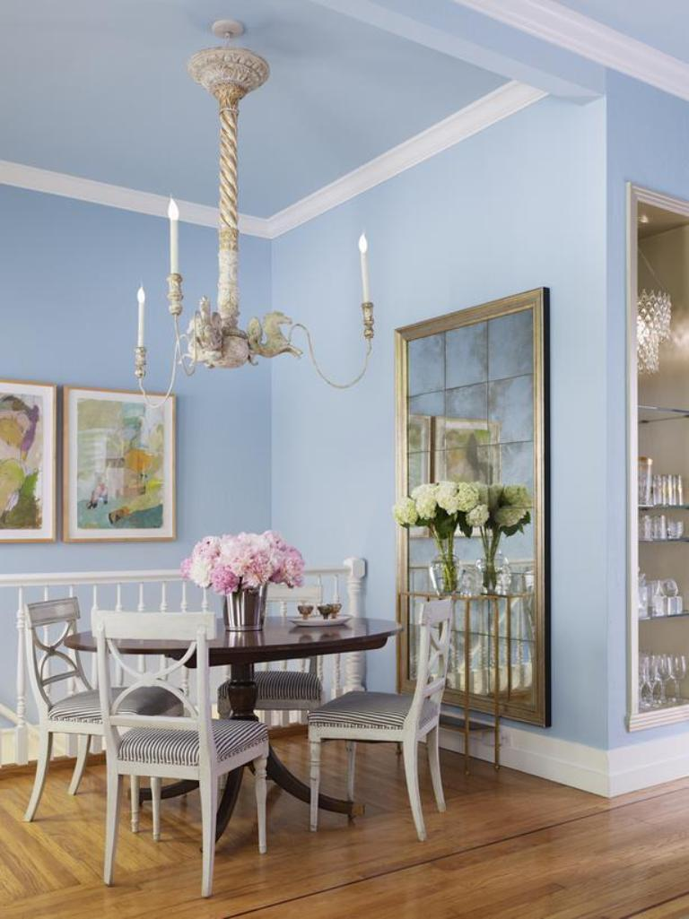 Light blue dining room -