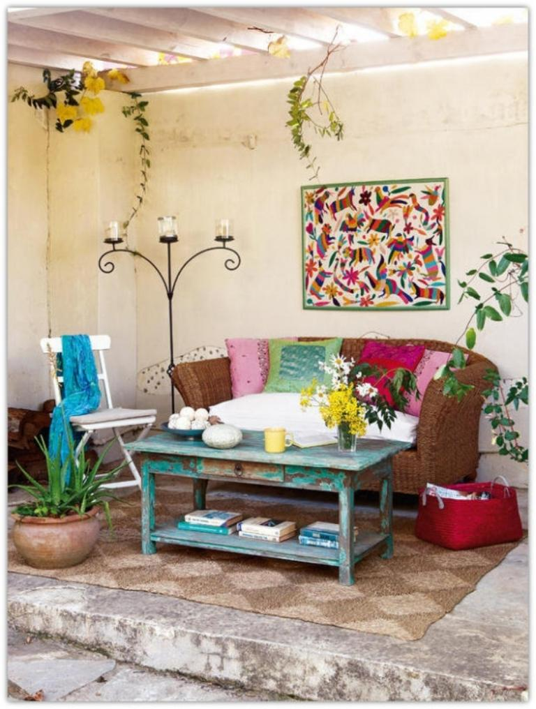 Shabby Chic Patio With Rattan Sofa