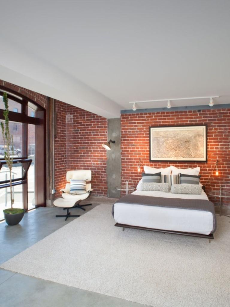 20 modern bedroom designs with exposed brick walls rilane for Grey brick wallpaper bedroom