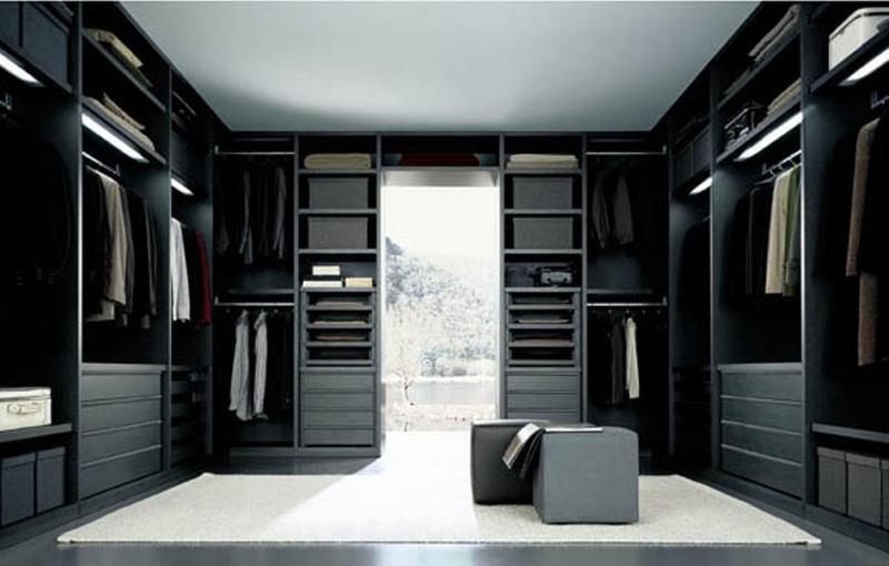 sleek black walk in closet - Walk In Closet Design Ideas