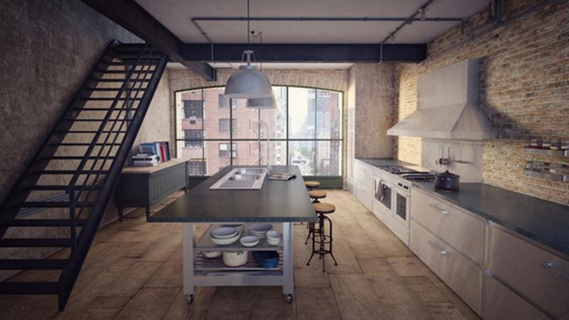 Whimsical industrial kitchen design ideas rilane for Small loft kitchen designs