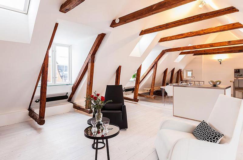 Sleek Modern Living Room With Roof Beams