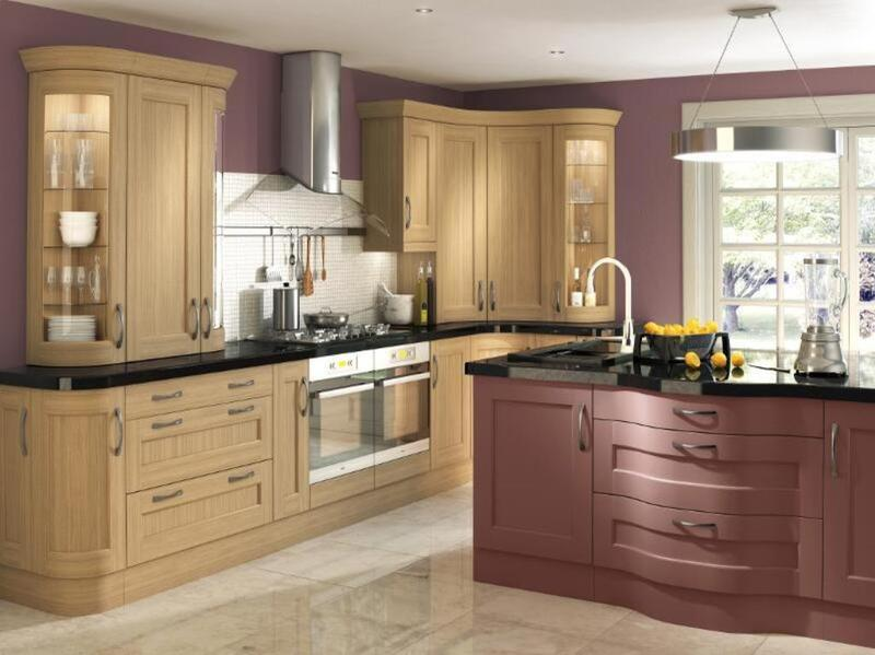 Unfinished oak kitchen cabinet designs rilane Kitchen design with light oak cabinets