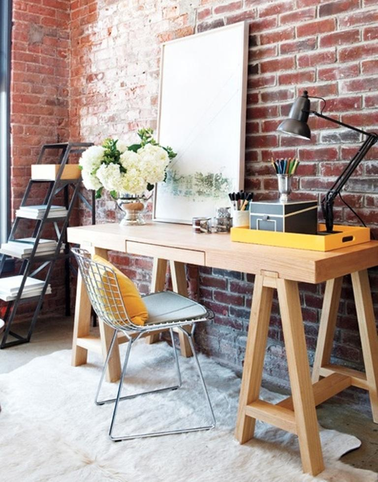 15 cool home office design with exposed brick walls rilane