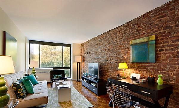 Small Living Room With Brick Walls