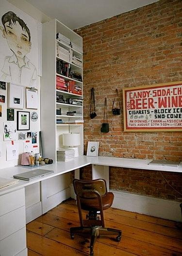 15 Cool Home Office Design With Exposed Brick Walls - Rilane