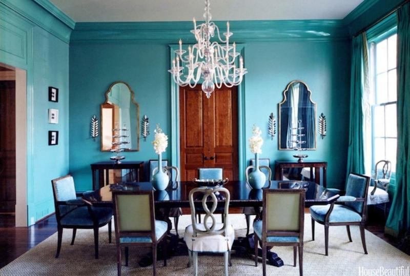 sophisticated turquoise dining room - House Beautiful Dining Rooms