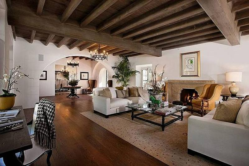 Sophisticated White Living Room With Bold Wooden Beams Part 68
