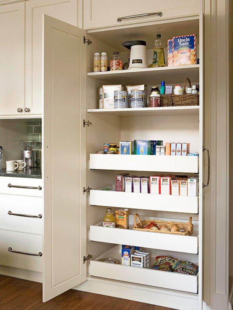 Built in kitchen pantry cabinet - Spacious White Kitchen Pantry