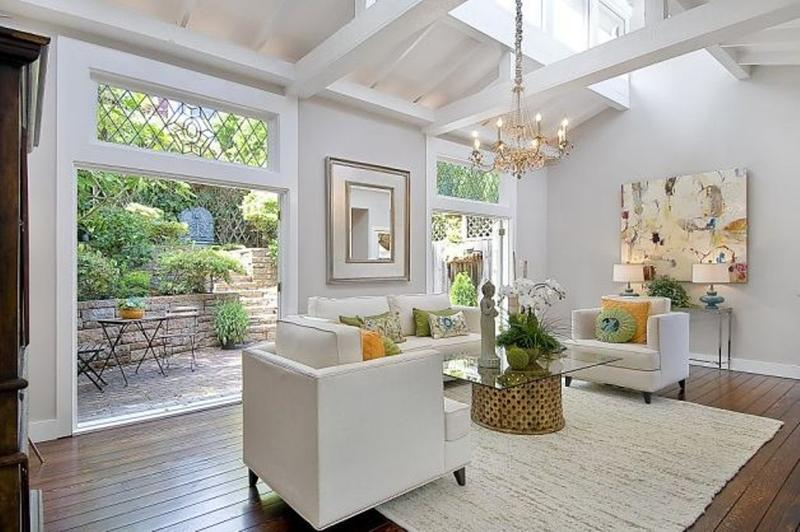 Splendid White Living Room With White Exposed Beams