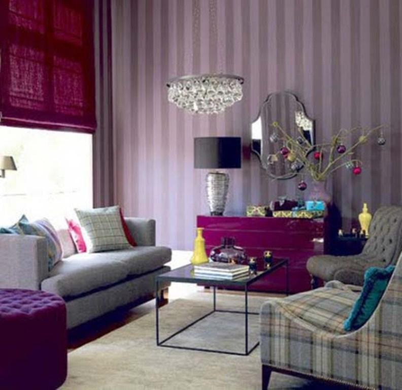 Striped Purple Living Room