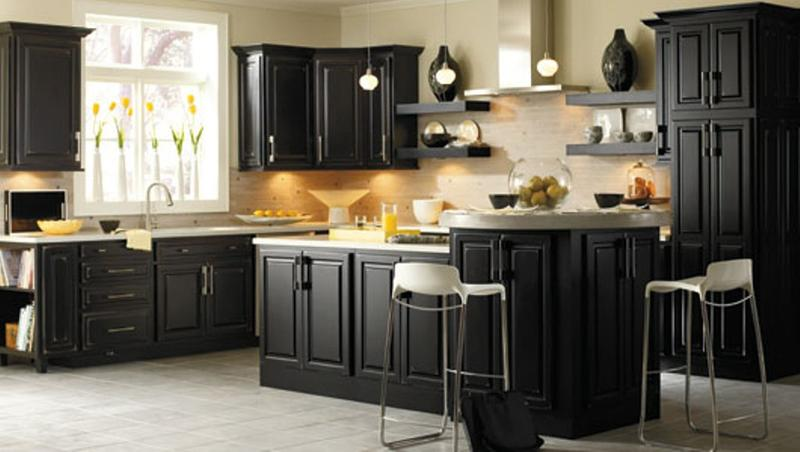 15 contemporary kitchen with black cabinets rilane for Traditional dark kitchen cabinets
